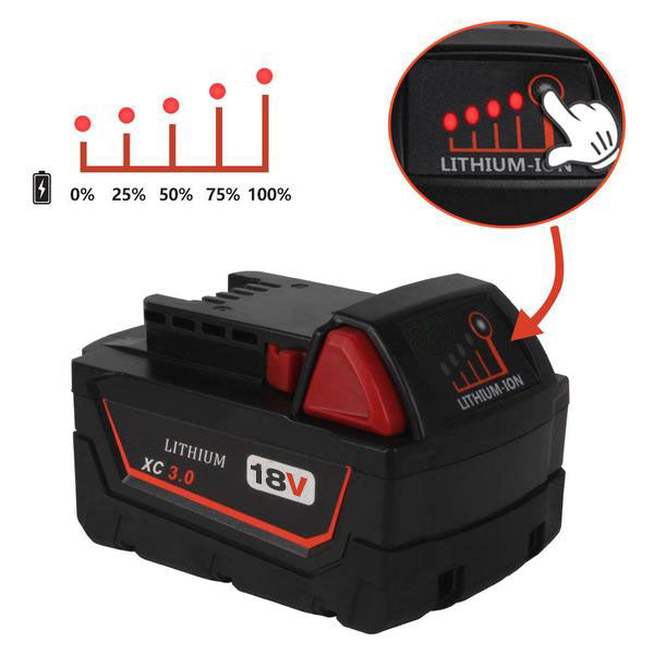 For Milwaukee M18 Battery Replacement 3.0Ah Li-Ion Battery