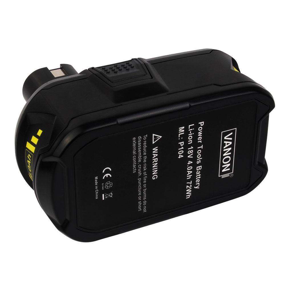 For Ryobi 18V Battery Replacement | P104 4.0Ah Li-Ion Battery - Vanonbattery