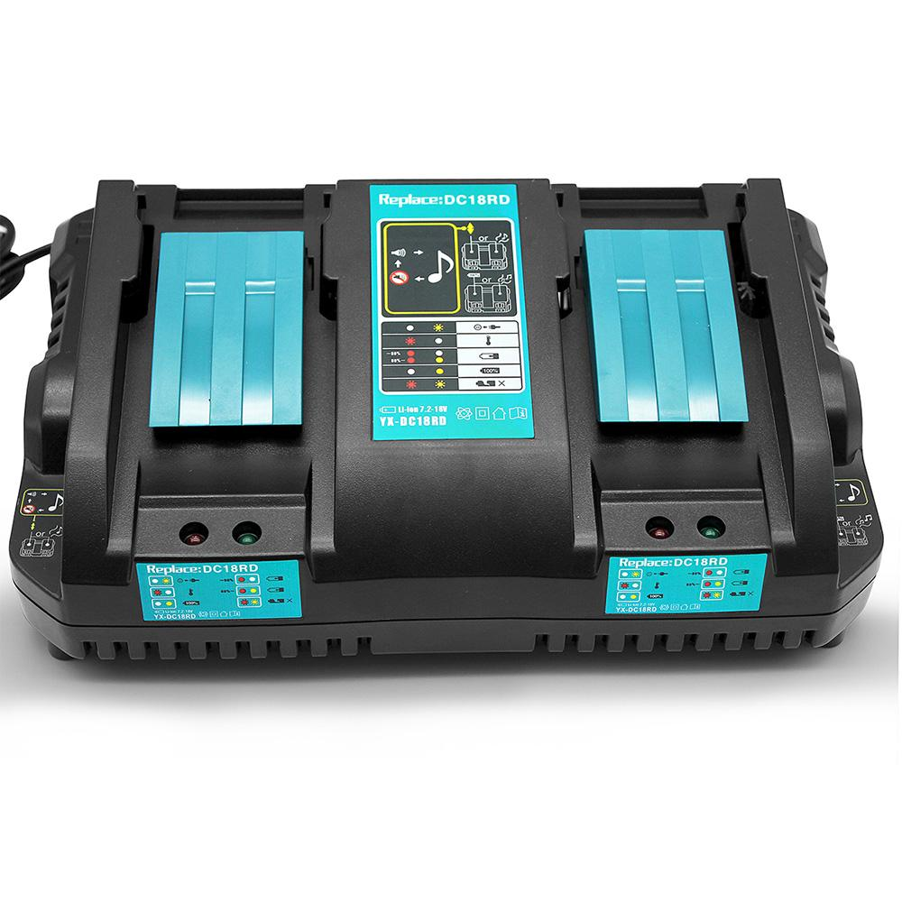 Makita 18V Battery Charger | DC18RD Dual Port Rapid Charger for BL1850 BL1830 Lithium-Ion Battery