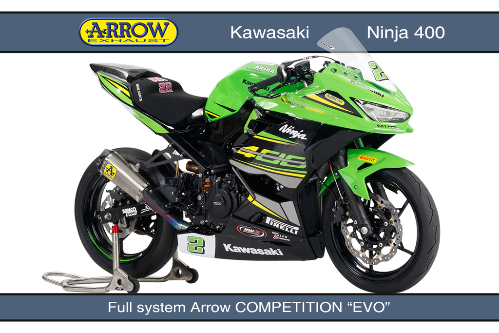 Arrow competition exhaust systems for Kawasaki Ninja 400