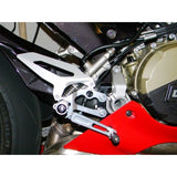 Ducabike Type 2 Adjustable Rearsets For 1299/1199/959/899 Panigale with Fixed Foot pegs, Color: Black/Black - Apex Racing Development