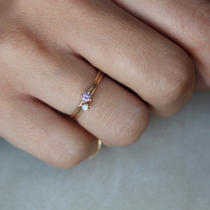 Tiny Pointy Ring - Champagne Diamond