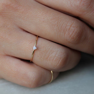 Tiny Pointy Ring - White Diamond