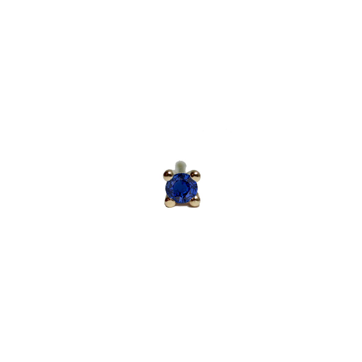 Tiny Pointy Earstud - Blue sapphire