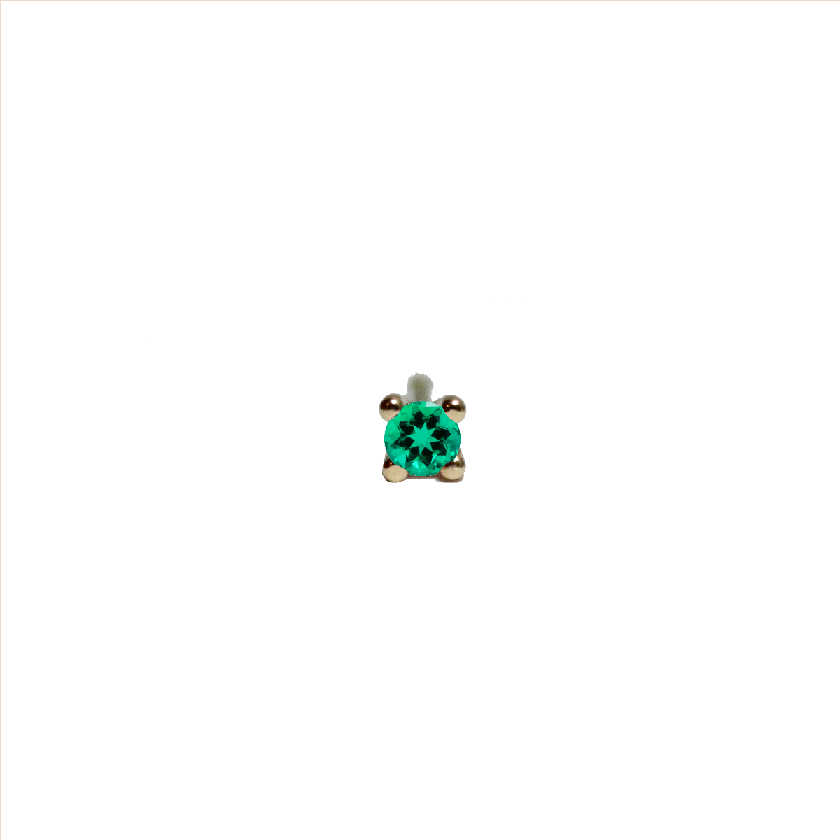 Tiny Pointy Earstud - Green Emerald