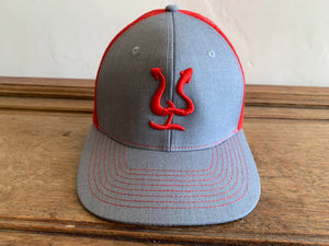 Pepe Aguilar Hat - Light Grey & Red with Red Logo