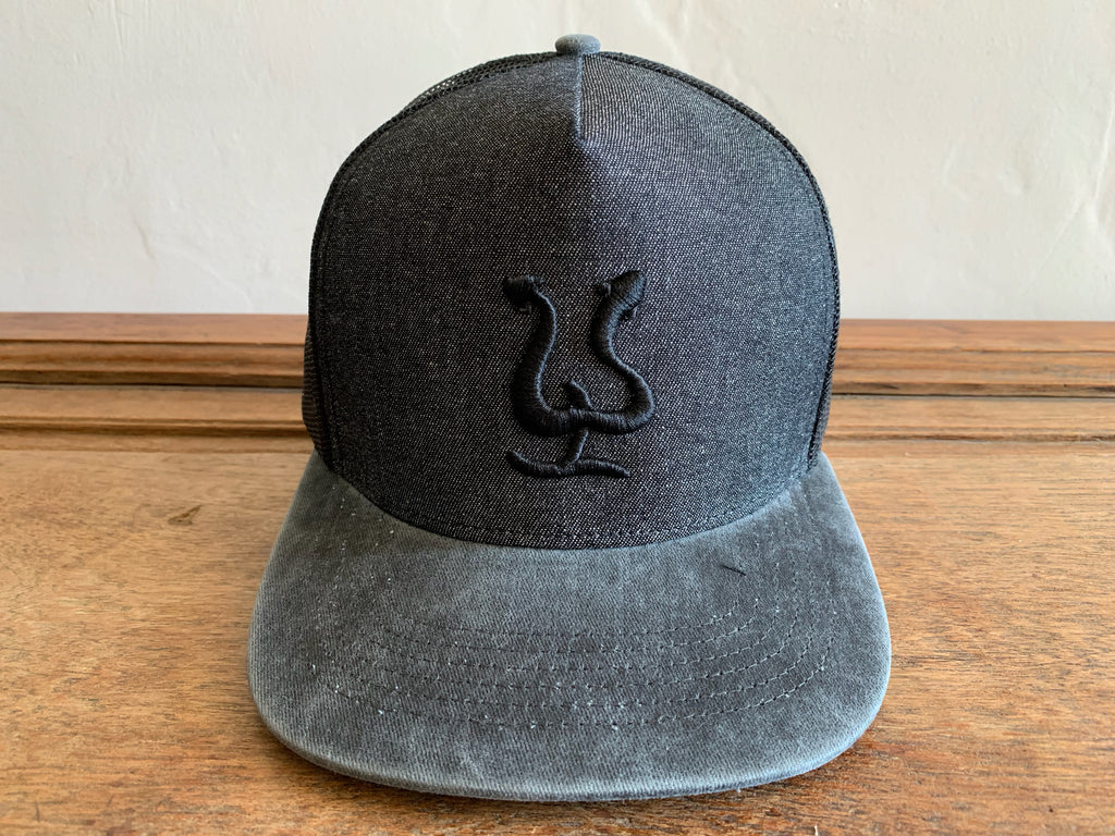 Pepe Aguilar Hat - Dark Grey Denim with Black Logo
