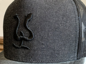 Pepe Hat - Dark grey denim - Black logo