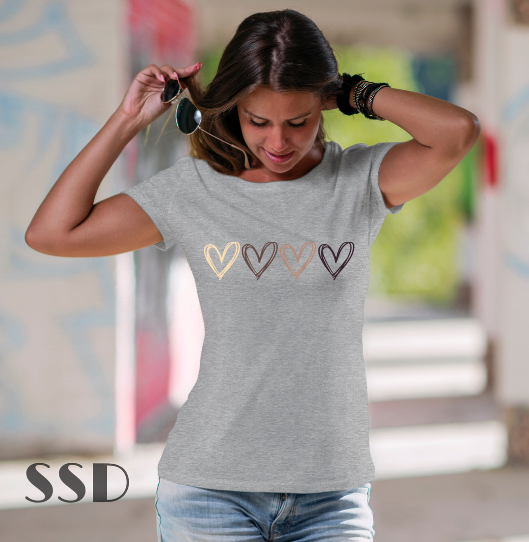 Multi Color Hearts Tee