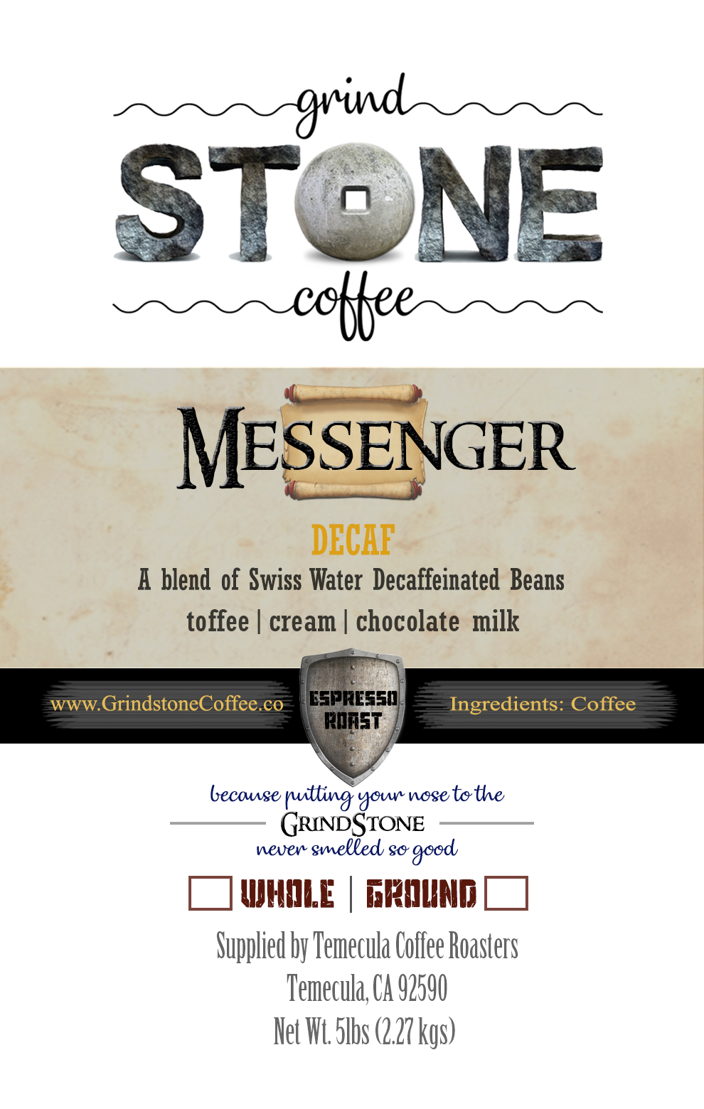Messenger Decaf Espresso (Swiss Water Decaf Blend) - Monthly Subscription