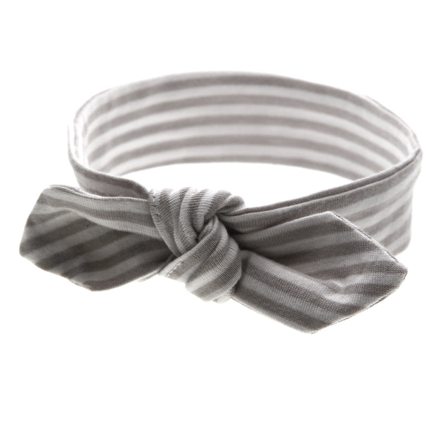 Bow Headband | Grey Stripe 1