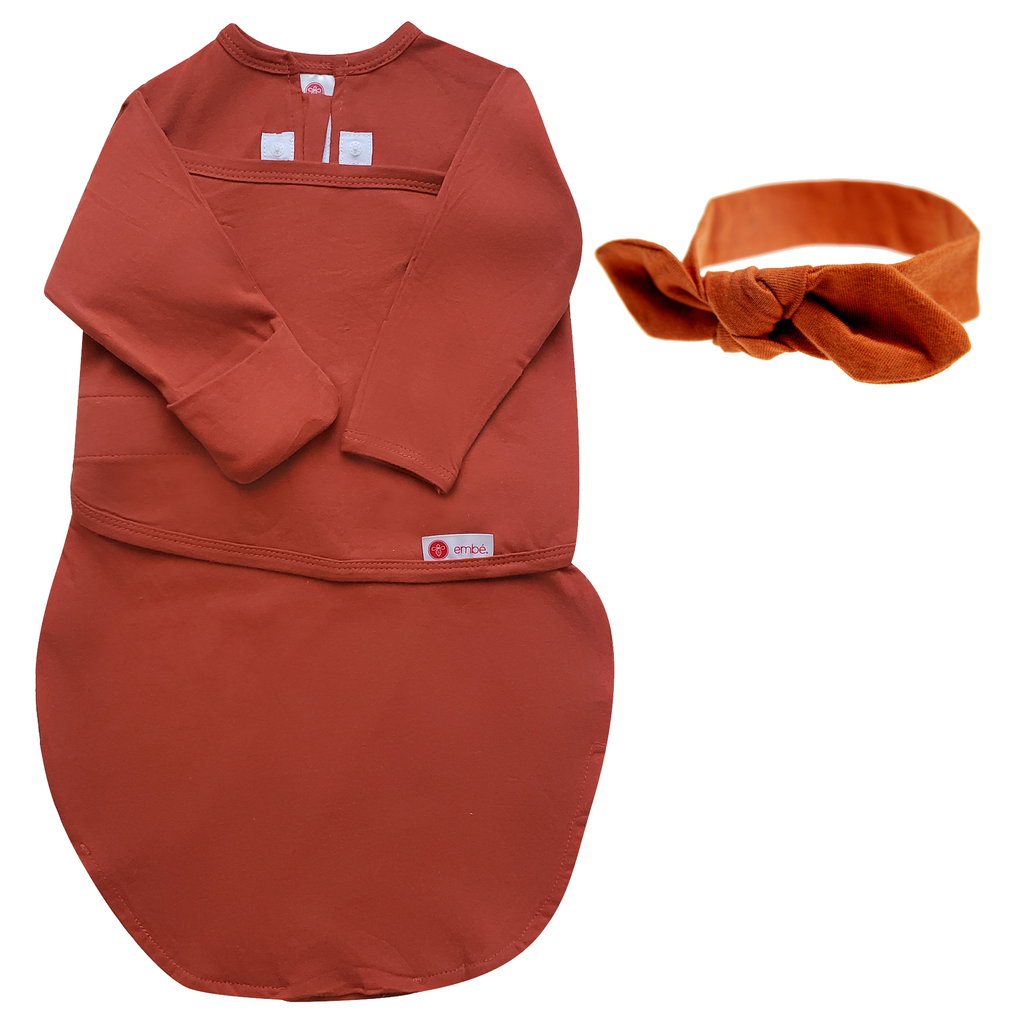 Headband and Swaddle with Long Sleeves Bundle (Rust)