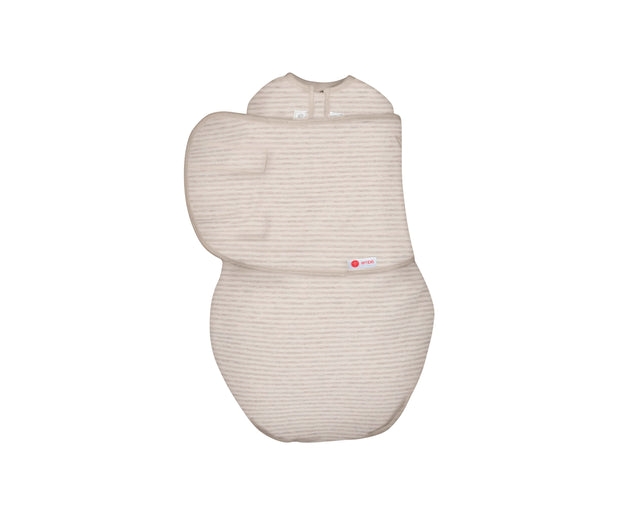 *Organic* Starter Swaddle Original | Heathered Oatmeal Stripe 1