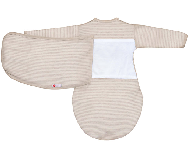 *Organic* Starter Swaddle with Long Sleeves | Heathered Oatmeal Stripe 1