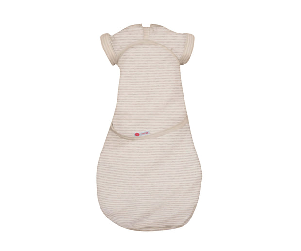 *Organic* Transitional Swaddle Out | Heathered Oatmeal Stripe 1