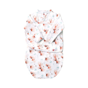 Long Sleeve Starter Swaddle | Blush Blossom Watercolor (NEW)