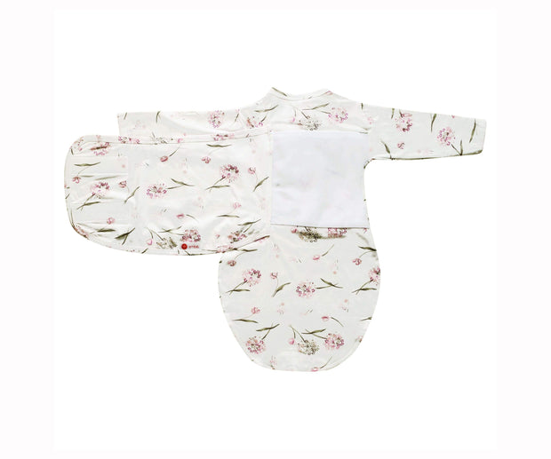Starter Swaddle with Long Sleeves | Pink Clustered Flowers 1