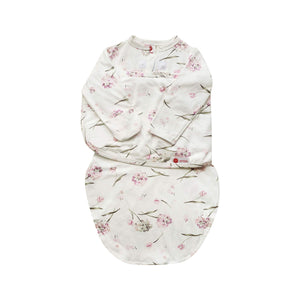 Starter Swaddle with Long Sleeves | Pink Clustered Flowers