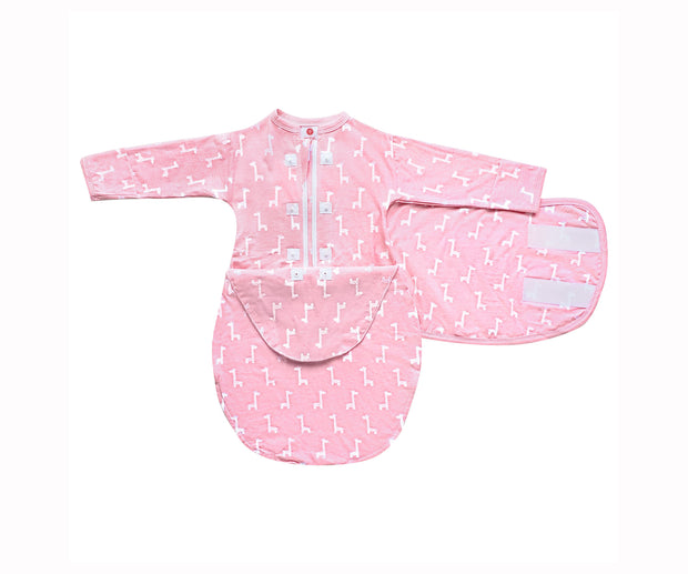 Starter Swaddle with Long Sleeves | Pink Giraffes 1