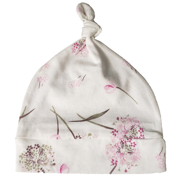 Top Knot Hat   Pink Clustered Flowers 1