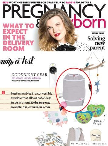 "embe listed as top ""Good Night Gear"" in Pregnancy & Newborn Magazine Editorial"