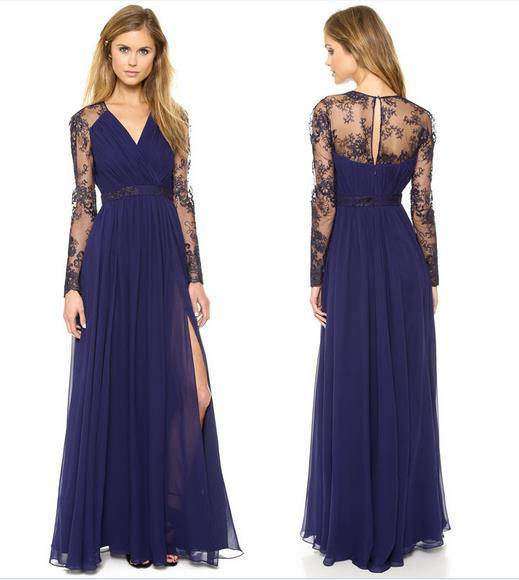 Sexy Plunging Neck Slit Lace Splicing Maxi Dress For Women - Goddess Beauty Royal Wigs