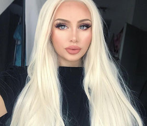 Platinum Blonde Lace Front Wig - Goddess Beauty Royal Wigs