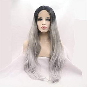 Ombre Black Gray Lacefront Wavy Gianna - Goddess Beauty Royal Wigs