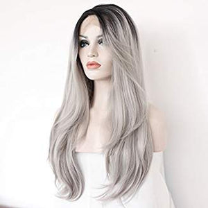 Ombre Gray Layered Straight Lacefront Wig Ruby - Goddess Beauty Royal Wigs