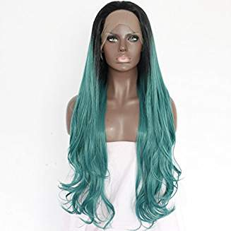Green Ombre Lacefront Wig Eva - Goddess Beauty Royal Wigs
