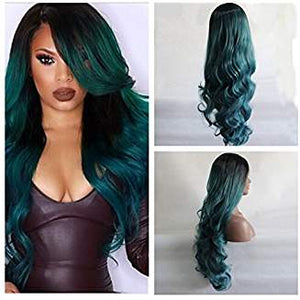 Dark Green Black Wavy Danica - Goddess Beauty Royal Wigs