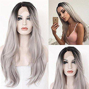 Black Gray Ombre Lacefront Wig Nima - Goddess Beauty Royal Wigs