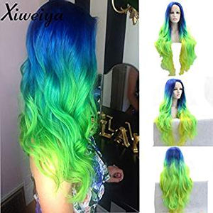 Ombre Green Lacefront Wig Wavy Liana - Goddess Beauty Royal Wigs