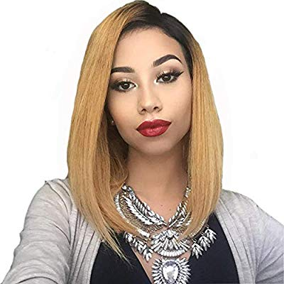 Ombre 1B/27 Blonde Glueless Brazilian Virign Hair Wigs with Baby Hair 14 inch - Goddess Beauty Royal Wigs