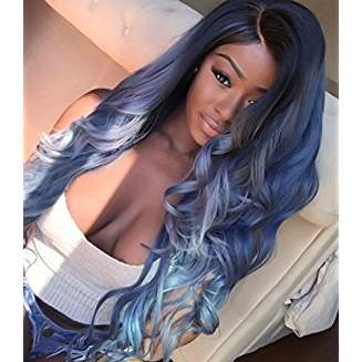 Dark Root Black Blue Ombre Lacefront Wig Egypt - Goddess Beauty Royal Wigs