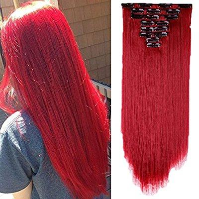 Red Full Head Clip In Extension!! - Goddess Beauty Royal Wigs