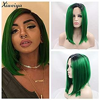 Ombre Dark Green Bob Lacefront Wig Rose - Goddess Beauty Royal Wigs
