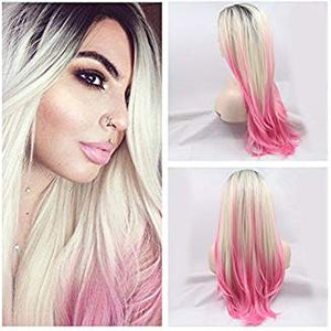 Ombre Black Blonde to Pink Lacefront Wig Gianna - Goddess Beauty Royal Wigs