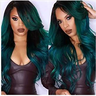 Ombre Dark Green Black Wig Calla - Goddess Beauty Royal Wigs