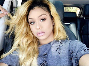 Brazilian Virgin Hair Loose Wave Ombre 1B/27 Glueless Human Hair Wigs With Baby Hair for Women 14 inch - Goddess Beauty Royal Wigs