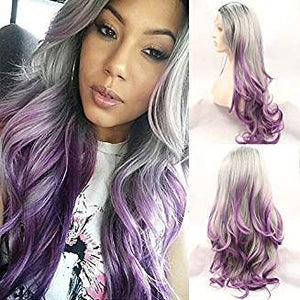 Ombre Gray Purple Lacefront Wig Gorgeous - Goddess Beauty Royal Wigs