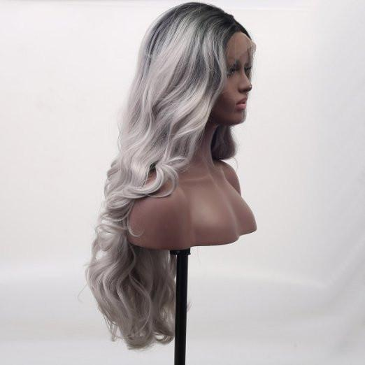 Black Gray Wavy Darkroot Ombre Lace Front Wig - Goddess Beauty Royal Wigs