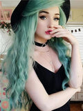 Mint Green Wavy Lace Front Wig 24-26 inches!! - Goddess Beauty Royal Wigs