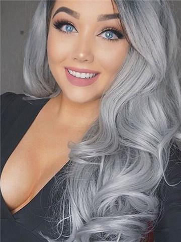 Ombre Gray Beauty Wave Lace Front Wig 24-26 inches!! - Goddess Beauty Royal Wigs