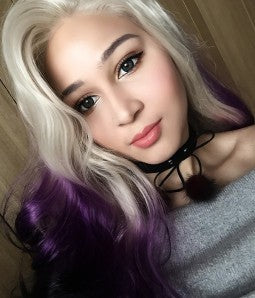 Ombre Gray Purplee Lacefront Wig Beauty - Goddess Beauty Royal Wigs