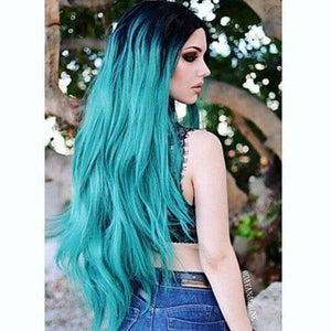 Ombre Black Blue Turquoise Lace Front Wig - Goddess Beauty Royal Wigs