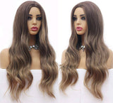 Ombre Blonde Beauty Waves Wig Long Ombre Brown High Density Temperature Synthetic Wig Women Glueless Wavy Cosplay Hair Wig - Goddess Beauty Royal Wigs