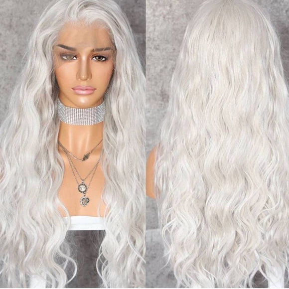 White Wavy Lace Front Wig - Goddess Beauty Royal Wigs