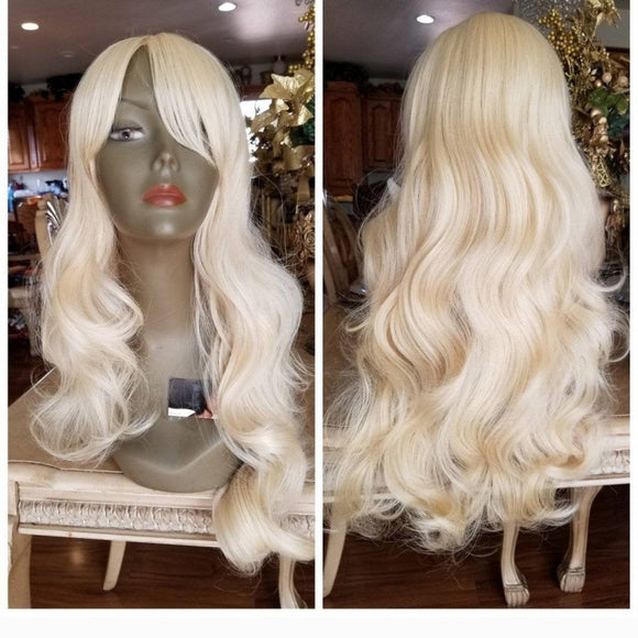 Bleach Blonde// Wavy//Human Hair Blend//Bangs//Blonde//NWT//Ready to Ship// - Goddess Beauty Royal Wigs