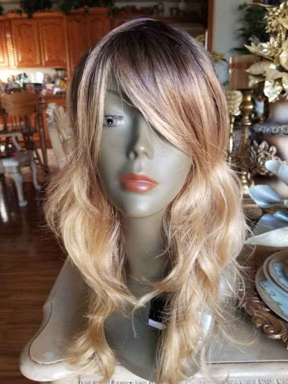Ombre//Brown Blonde// Straight Wavy//Bodywave// Wig//Synthetic//Beautiful/Wavy//Bangs//Brand New//Natural//Ready to Ship - Goddess Beauty Royal Wigs
